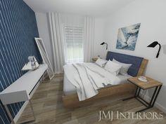 granatowa tapeta, granatowe łóżko, granat w sypialni Bed, Furniture, Home Decor, Decoration Home, Stream Bed, Room Decor, Home Furnishings, Beds, Home Interior Design