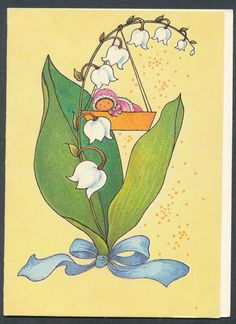 Vintage Estonian Double / Greeting Card by E. Old Postcards, Vintage Prints, Tinkerbell, Pikachu, Disney Characters, Fictional Characters, Greeting Cards, Lily, Handmade Gifts