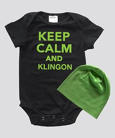 This Black & Lime 'Keep Calm And Kilngon' Bodysuit & Beanie - Infant is perfect! #zulilyfinds