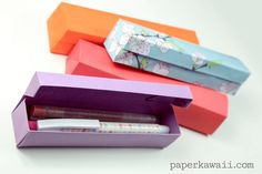 Learn how to make an origami pencil box with a hinged lid with this easy to follow step by step video instructions! Perfect to use for pens or as a gift box!