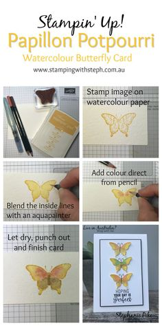 As promised here are the very simple instructions on how I watercoloured my butterflies. I had heaps of fun making the butterflies and just as much fun making the collage with the instructions. I l…