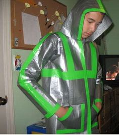 This is so foolish it made me laugh.   100% Authentic Duct Tape Hoodie (110+ yards of duct tape) http://www.instructables.com/id/100-Authentic-Duct-Tape-Hoodie-110-yards-of-duc/