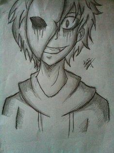 Scary Drawings, Dark Art Drawings, Pencil Art Drawings, Art Drawings Sketches, Cute Drawings, Horror Drawing, Horror Art, Eyeless Jack, Creepypasta Cute