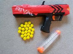The #Nerf Rival Apollo gun shoots out little yellow foam balls instead of the regular nerf darts.