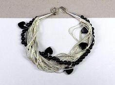 Carolyn Pollack Carlisle Black Onyx Southwestern Sterling Liquid Silver Bracelet #CarolynPollack #StackLayering
