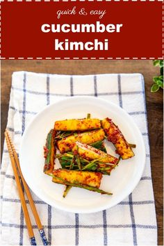Cucumber Kimchi (Oi Kimchi). It's light, crunchy and flavorful. It's a perfect summer kimchi! | MyKoreanKitchen.com  #mykoreankitchen #cucumberkimchi #cucumber #kimchi #summerkimchi #koreanfood via @mykoreankitchen