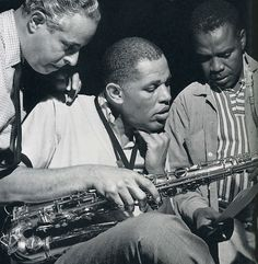 Alfred Lion, Dexter Gordon and Ike Quebec during rehearsal for Gordon's Landslide session, Englewood Cliffs NJ, June 25 1962. Photo by Francis Wolff.
