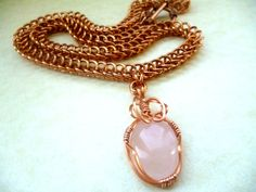 Rose Quartz necklace bronze necklace chainmaille by Kostadinka, $65.00