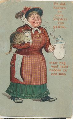 Cats in Art and Illustration: pc oude vrijster 1921