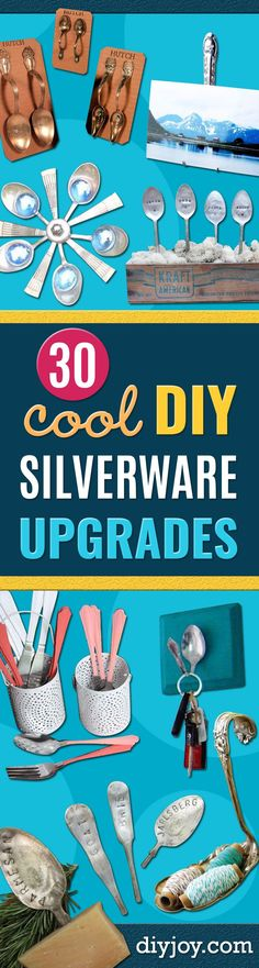 30 Creative Things You Should Do With Old Silverware - Easy Crafts and DIY Gift Ideas With Forks, Spoons and Knife - Silver Stamped Garden Decor and Home Accessories Diy Crafts How To Make, Do It Yourself Crafts, Easy Crafts, Cool Things To Make, Creative Things, Creative Homemade Gifts, Spoon Art, Eating Ice Cream, Rustic Wall Art