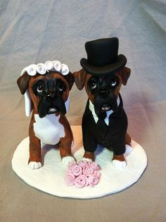 GOT TO HAVE THIS.....    Boxer Dog Wedding Cake Topper Polymer Clay by Laurie Valko, via Flickr how cute.