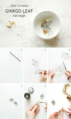 follow this tutorial to make gorgeous earrings that look like ginkgo leaves