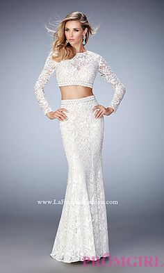 Long Lace Two Piece Long Sleeve Prom Dress by La Femme at PromGirl.com
