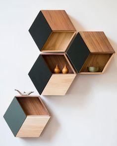 Hexagon Wall Shelf by Kreatif Wall Shelf. #p_roduct #product #productdesign #wood #wooden #indonesia #hexagon #shelf #minimal #woodworking