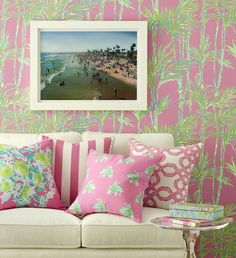 Lee Jofa has announced the launch of new fabrics and wall coverings in partnership with Lilly Pulitzer! Lilly Pulitzer II is the second collection of fabric and trims available through Lee Jof… Decor, Lee Jofa Wallpaper, Palm Beach Style, Coastal Decor, Beach House Decor, Palm Beach Decor, Decor Inspiration, Wall Coverings, Beach Decor