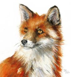 Modern fox decor - kids wall art - wildlife fox animal illustration - This is a high quality unframed giclee print from my original watercolor on paper archival Pa - Watercolor Animals, Watercolor Paintings, Fox Watercolour, Art Fox, Fuchs Illustration, Illustration Kids, Art Sur Toile, Fox Painting, Fox Decor