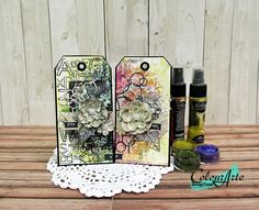 Watercolor Resist tags with Twinkling H20's by Kavitha | ColourArte Blog