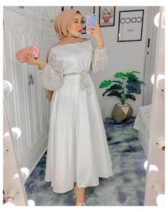 Hijab girl outfit dress fashion #hijab #fashion #dress #parties #hijabfashiondressparties Hijab Evening Dress, Hijab Dress Party, Muslim Fashion, Hijab Fashion, Fashion Dresses, Mode Turban, Lace Gown Styles, Prom Dresses With Sleeves, Classy Dress