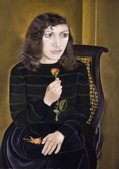 "Girl with Roses Lucian Freud Oil portrait ""A compulsive, dreamlike beauty. An almost erotic intensity"" David Hockney, Sigmund Freud, Lucian Freud Portraits, Lucian Freud Paintings, Francis Bacon, Edward Hopper, Robert Rauschenberg, Gustav Klimt, Antoine Bourdelle"
