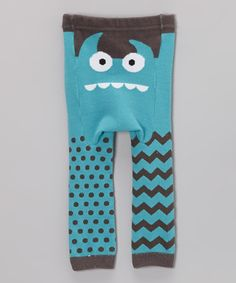 Another great find on #zulily! Teal Monster Face Leggings - Infant by Doodle Pants #zulilyfinds