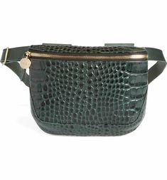 $289 Clare V. Croc Embossed Leather Fanny Pack