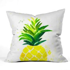 Shop our Pineapple Outdoor Throw Pillow and other coordinating products in this fun resort inspired Laura Trevey collection. UV protected and mildew resistant. Available in 4 different sizes. Coastal Living, Coastal Decor, Colourful Living Room, Beautiful Houses Interior, Watercolor Design, Pillow Sale, Outdoor Throw Pillows, Decor Pillows, Fabric Painting