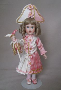 """Mignonette's Polichinelle costume with marotte.  9"""" doll with 3 1/2"""" marotte."""