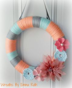Summer Coral Tiffany Blue and Gray Yarn by WreathsByEmmaRuth, $25.00
