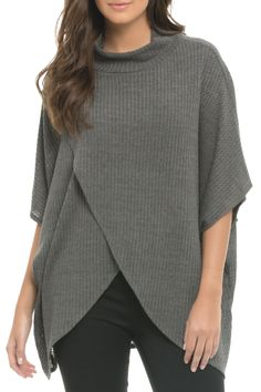 Casual short sleeve oversized top with criss cross front.  Criss Cross Front Sweater by Elan. Clothing - Sweaters - Crew & Scoop Neck New Jersey