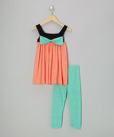 Take a look at this Coral & Mint Bow Tunic & Leggings - Infant, Toddler & Girls by Bella's Boutique on #zulily today!