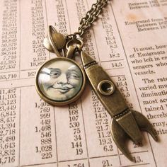 Steampunk Man in the Moon Rocket Sci-fi Cabochon Pendant Necklace