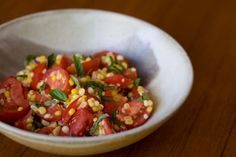 Corn and tomato salad, fast slow food