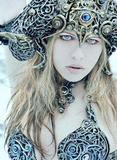 "Hlaðguðr svanhvít (Old Norse ""Hlaðguðr swan-white"") is a Viking Valkyrie… Winter Goddess, Skyrim Cosplay, Winter Wolves, Old Norse, Asatru, Gods And Goddesses, Cosplay Girls, Fantasy Art, Sexy"