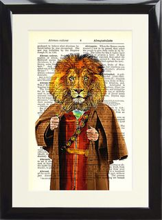 Lion Art Print Dictionary Page Vintage Antique Victorian Gentleman Wall Picture
