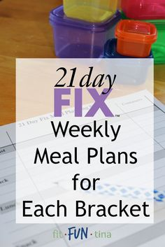 Your 21 Day Fix Meal planning just got easier! Here is a list of weekly 21 Day Fix meal plans, separated by calorie bracket. For more 21 Day Fix resources and recipes, head to www.FitFunTina.com