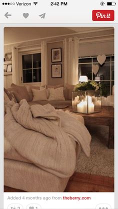 I chose to include a cozy living room/family room because I want to have a place in my house that represents that my family will always have a place to go to to spend time together at the end of the day. Cozy Living Rooms, My Living Room, Home And Living, Living Spaces, Small Living, Living Area, Romantic Living Room, Neutral Living Rooms, Living Room Candles