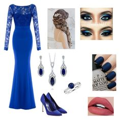 """""""Blue for the Ball"""" by mhussain6 on Polyvore featuring Sergio Rossi, OPI, BERRICLE and Blue Nile"""
