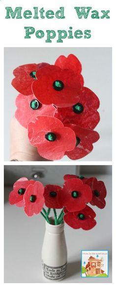 Melted crayon wax poppies, this is a brilliant kids craft for remembrance day or a wonderful way to give flowers that never die