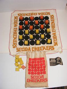 Vintage Scuda Checkers Set Cloth Checkers Board Wooden Pieces | eBay