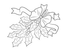 Christmas Holly with Bow coloring page | Free Printable Coloring Pages