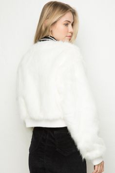 Brandy ♥ Melville | Fiona Fur Bomber Jacket - Outerwear - Clothing