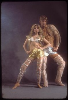 Bubble Wrap Art: Morgan Fairchild with John McMurphy, ca. 1976 | Kenn Duncan photograph archive / Series II : performing arts personalities. | © The New York Public Library for the Performing Arts