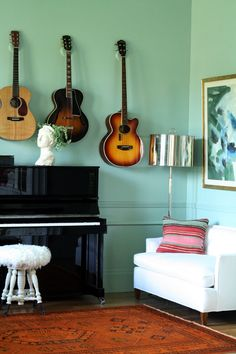 Jenny Komenda's gorgeous music room. Love the Farrow & Ball Green Blue paint color with the orange-y rug.