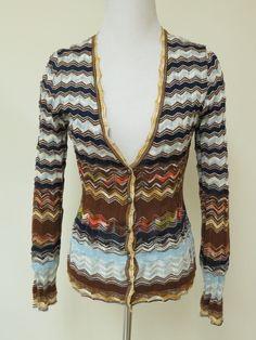 M Missoni Zig Zag Knit V-Neck Cardigan Multicolor Size 42 US 6 | eBay