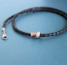 Men's Braided Leather Necklace Copper Spinner Tube by LynnToddDesigns