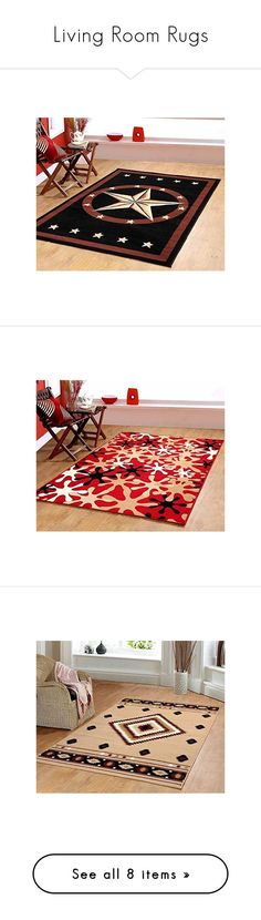 Living Room Rugs by maplehomeonline on Polyvore featuring home, rugs, black rug, star rug, black area rugs, brown area rugs, brown rug, red rug, bright red area rug and bright red rug