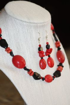 Beautiful Handmade Red & Black Chunky Beaded Necklace And Earring Set - Jewelry on Etsy
