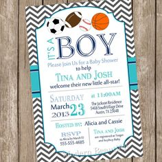 Chevron All star It's a boy baby shower invitation, football, soccer, baseball, basketball, turquoise, navy, printable, digital file