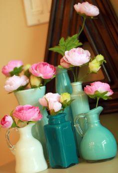 Swirl Acrylic Paint in clear glass jars, bottles, pitchers, etc.... So Pretty!