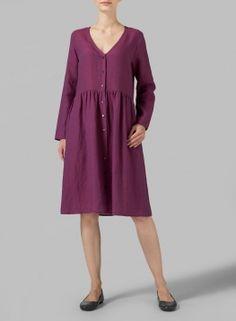 Linen Button Front L/S Dress